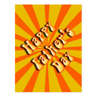 Groovy Orange Retro For Father's Day Postcard