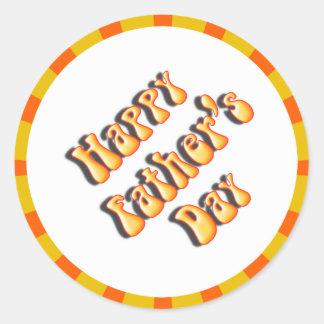 Groovy Orange Retro For Father's Day Classic Round Sticker