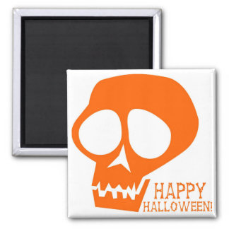 Groovy Orange Skull - Happy Halloween! 2 Inch Square Magnet