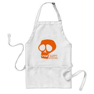 Groovy Orange Skull - Happy Halloween! Adult Apron