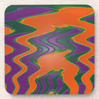 groovy orange wave abstract beverage coaster
