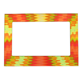 Groovy Orange yellow abstract Magnetic Frame