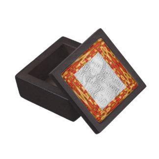 Groovy orange yellow abstract photo frame premium jewelry box