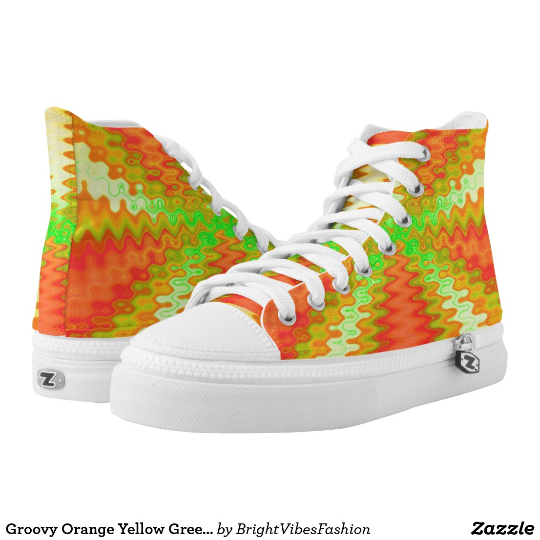 Groovy Orange Yellow Green Vibes Abstract High-Top Sneakers