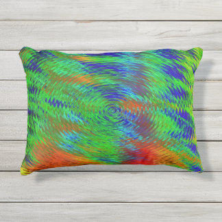 Groovy Outdoor Accent Pillow-green blue yellow red Outdoor Pillow