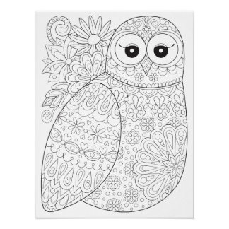 Groovy Owl Coloring Poster - Colorable Owl Poster