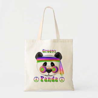 Groovy Panda 70s Style Psychedelic Tote Bags
