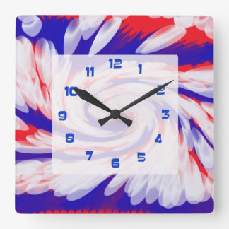 groovy patriotic red white and blue square wall clock