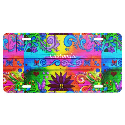 groovy peace and love hippie license plate
