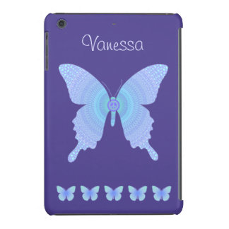Groovy Peace Butterfly blue on purple mini retina iPad Mini Retina Covers