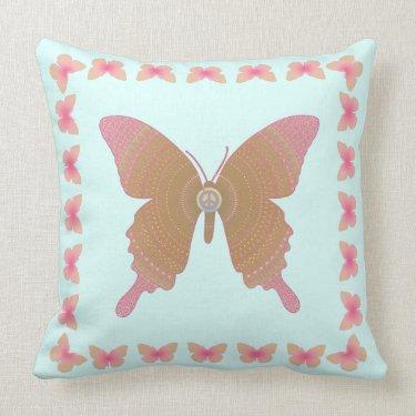 Groovy Peace Butterfly pink on blue spiro op art Throw Pillow