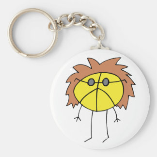 Groovy Peace Dude in Yellow Basic Round Button Keychain