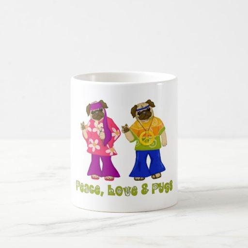 GROOVY!  Peace, Love and Pugs Morph Mug!