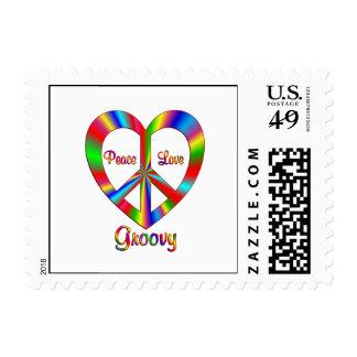 Groovy Peace Love Postage Stamp