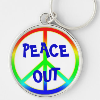 Groovy Peace Out Sign Keychain