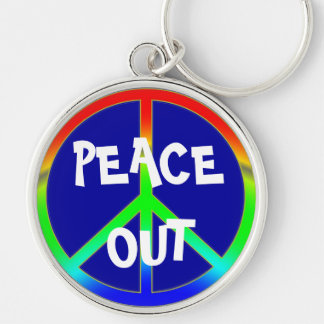 Groovy Peace Out Sign Silver-Colored Round Keychain