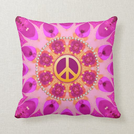 Groovy Peace Sign Orange Pink Cushion / Pillow