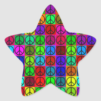 Groovy Peace Signs Star Stickers