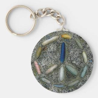 Groovy Peace Symbol Basic Round Button Keychain