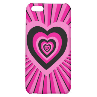 Groovy Pink Black Psychedelic Hearts Design Case For iPhone 5C