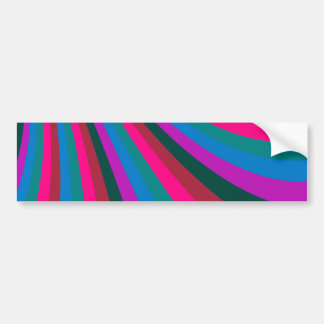 Groovy Pink Blue Rainbow Slide Stripes Pattern Bumper Sticker