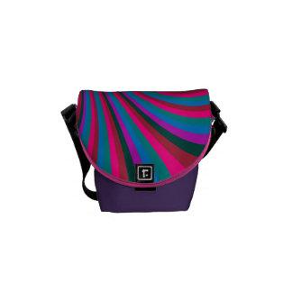 Groovy Pink Blue Rainbow Slide Stripes Pattern Messenger Bags