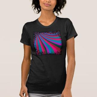Groovy Pink Blue Rainbow Slide Stripes Pattern Tee Shirt