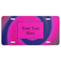 Groovy Pink Blue Swirl Abstract License Plate