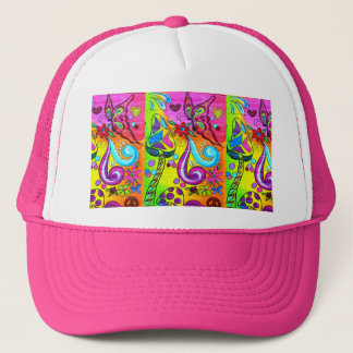 groovy pink flower power hat