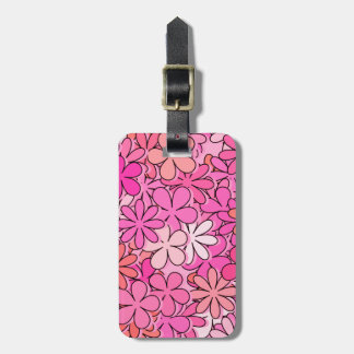 Groovy Pink Flowers Tag For Luggage