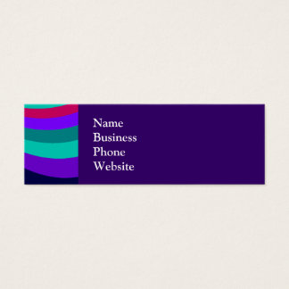 Groovy Pink Purple Aqua Rainbow Slide Stripes Mini Business Card