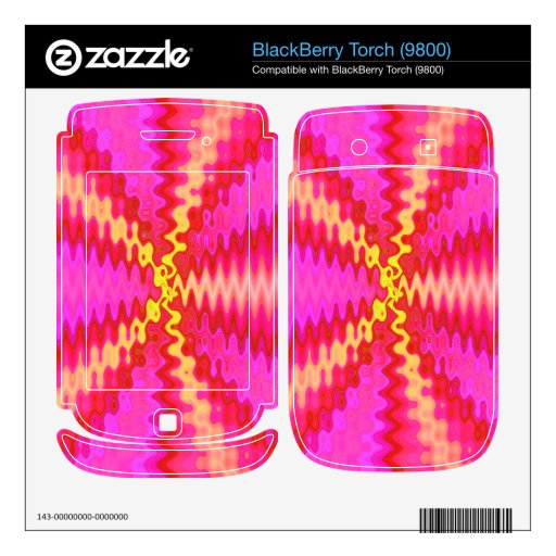 Groovy pink yellow red decals for BlackBerry