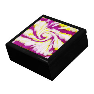 Groovy Pink Yellow White TieDye Swirl Abstract Jewelry Box