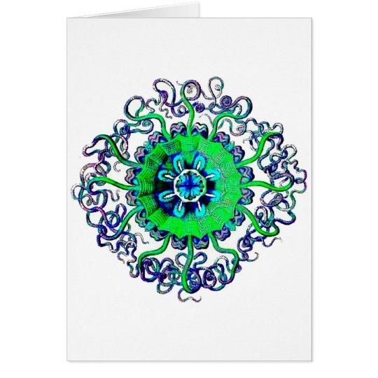 Groovy Pop Art Jellyfish MandalaTattoo Card