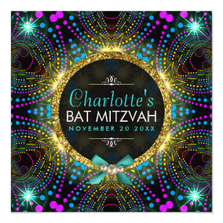 Groovy Princess Mint Pink Blacklight Bat Mitzvah Card