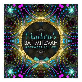 Groovy Princess Mint Pink Blacklight Bat Mitzvah Invitation