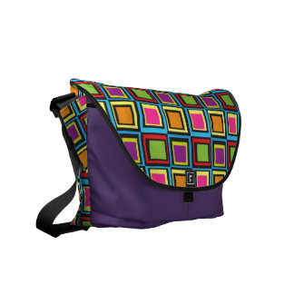 Groovy Psychadelic Colorful Squares Retro Pattern Courier Bags