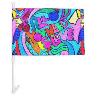 groovy psychedelic peace and love car flag