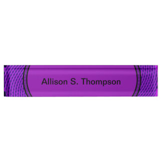 Groovy purple abstract desk name plate
