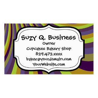 Groovy Purple and Green Rainbow Slide Stripes Patt Double-Sided Standard Business Cards (Pack Of 100)