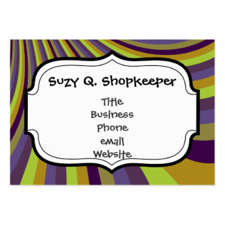 Groovy Purple and Green Rainbow Slide Stripes Patt Large Business Cards (Pack Of 100)