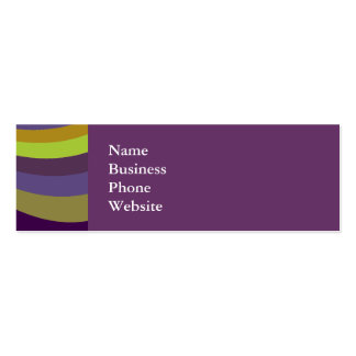 Groovy Purple and Green Rainbow Slide Stripes Patt Double-Sided Mini Business Cards (Pack Of 20)