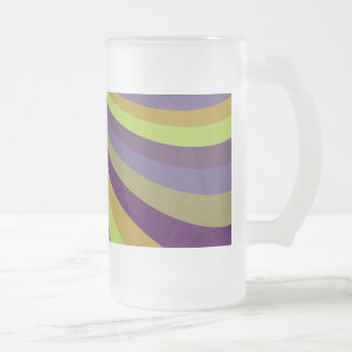 Groovy Purple and Green Rainbow Slide Stripes Patt Frosted Glass Beer Mug