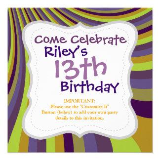 Groovy Purple and Green Rainbow Slide Stripes Patt Personalized Invitation