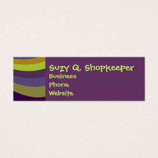 Groovy Purple and Green Rainbow Slide Stripes Patt Mini Business Card
