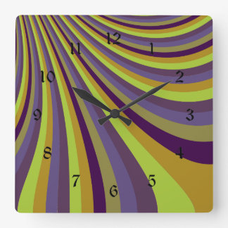 Groovy Purple and Green Rainbow Slide Stripes Patt Square Wall Clock