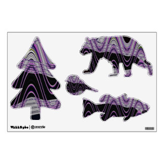 groovy purple black abstract wall decal