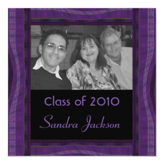 groovy purple black graduation card