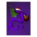 Groovy Purple Dragon Santa Claus Card