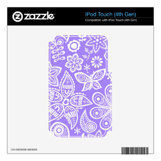 Groovy Purple Flowers Design iPod Touch 4G Decals